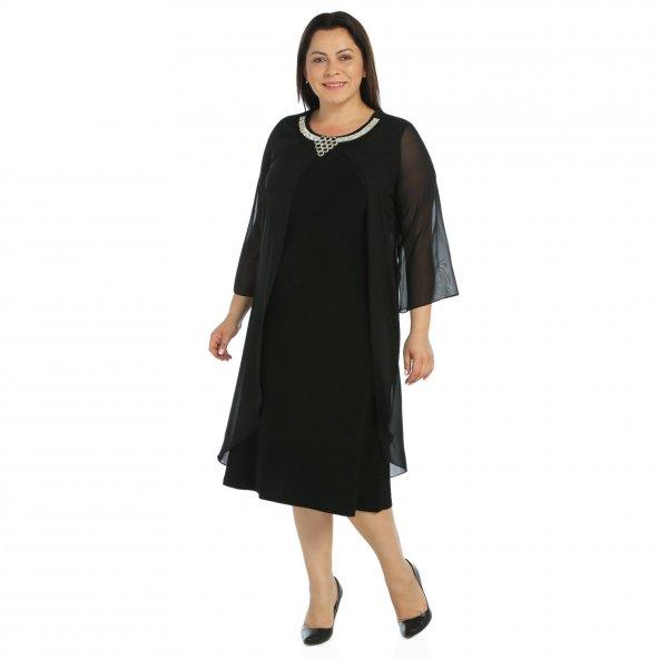 Nidya Moda Büyük Beden Taşlı Yaka Üst Uzun  Şifonlu Siyah Abiye Elbise-4095S