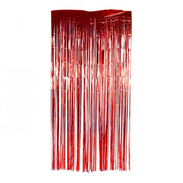 Simli Uzun Kırmızı 2m Kapı Parti Perdesi Parlak Duvar Püskülü Süs