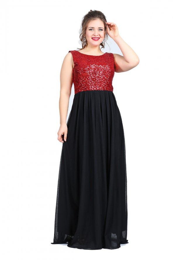 Büyük Beden Payetli Şifonlu Uzun  Elbise KL7885