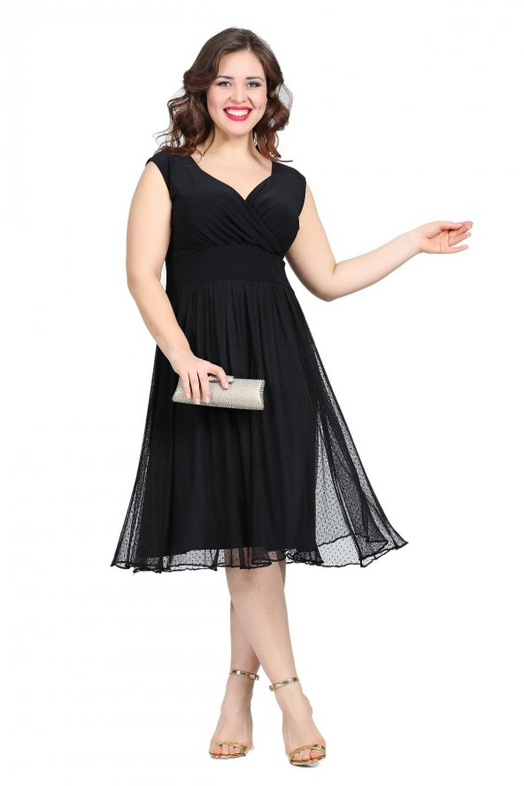 Büyük Beden Puantiye Tüllü Mini Abiye Elbise KL7878