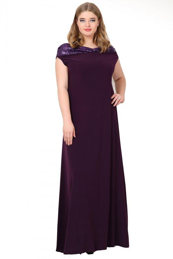 Büyük Beden Öpücük Yaka Payetli Likralı Uzun Abiye Elbise KL126P