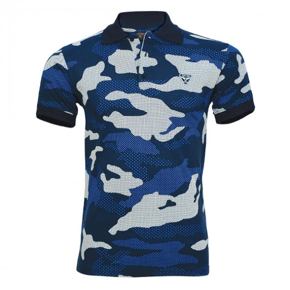 4018 Lacivert Kamuflaj Kısa Kol T-Shirt XXL