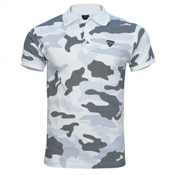 4018 Beyaz Kamuflaj Kısa Kol T-Shirt XL