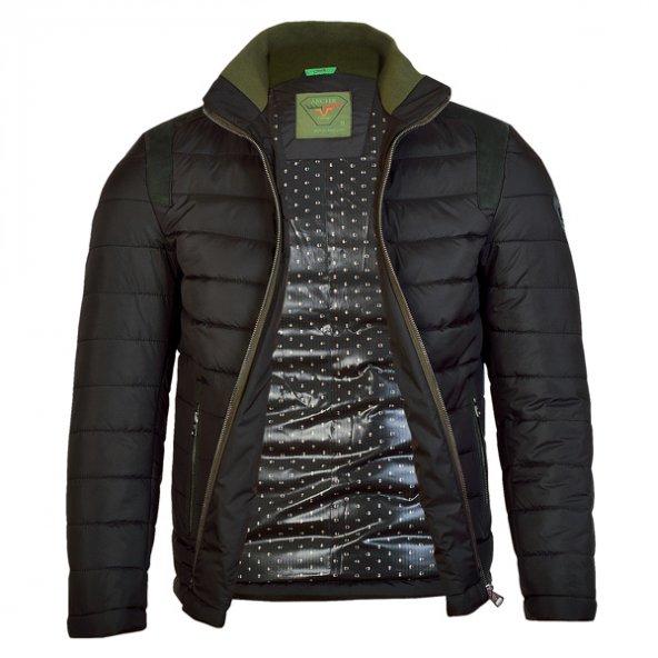 3045 Siyah-Yeşil Şişme Mont 3XL