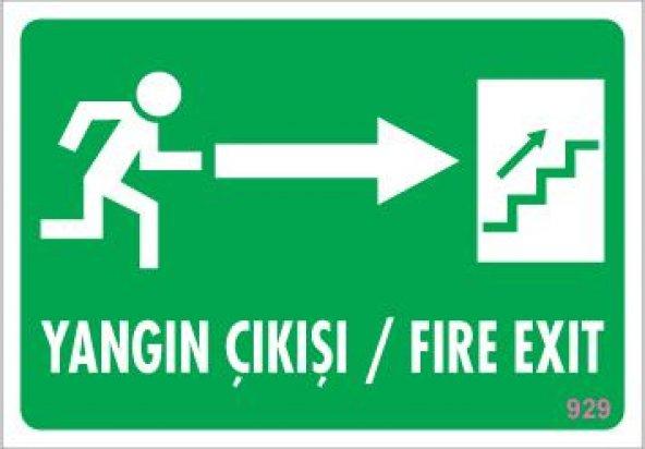 Yangın Çıkışı Uyarı Levhası 17,5x25 KOD:929