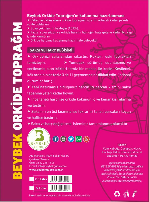 5 Litre Beybek Orkide Toprağı