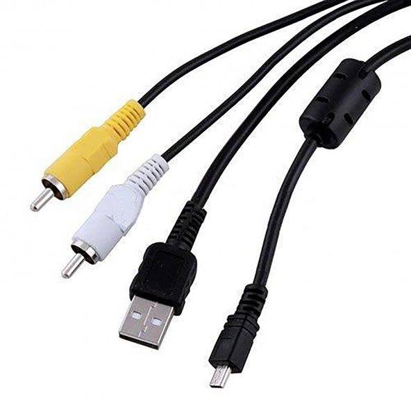 Panasonic Lumix dmc-fx12 dmc-fx3 dmc-fx30 USB Data Şarj AV Görüntü Kablosu