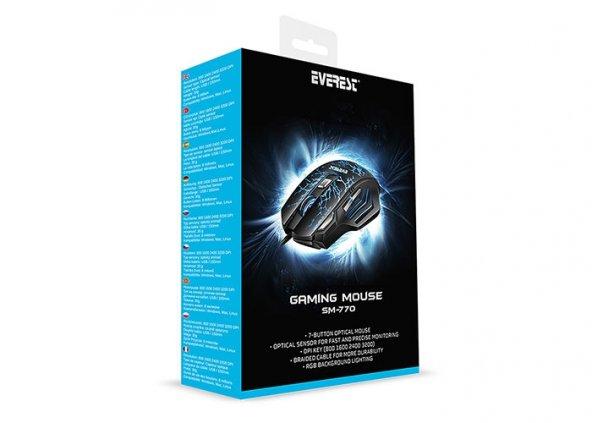 Everest SM-770 Yıldırım Desenli Usb Siyah 3200 DPI Gaming Mouse