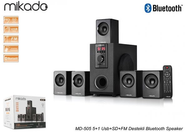 Mikado MD-505 5+1 Usb+SD+FM Destekli Bluetooth Speaker