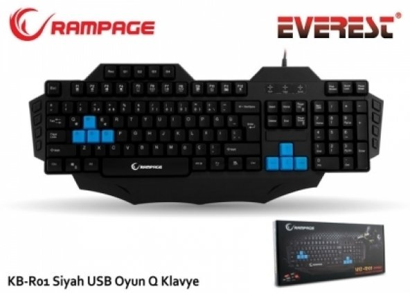 Everest Rampage KB-R01 Siyah USB Makrolu Gaming Q Multimedia Klav