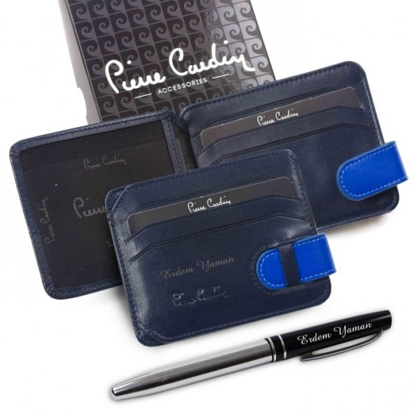 Pierre Cardin İsme Özel Kartlık Cüzdan Lacivert-Sax