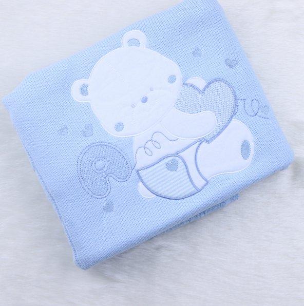 Triko İşlemeli Battaniye  42518-2 Mavı