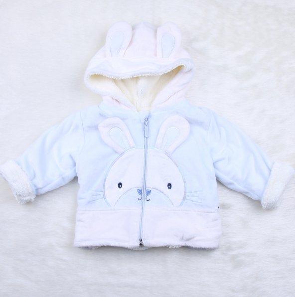 Velboa Tavşanlı Kapüşpnlu Mont a11362-1 Mavı