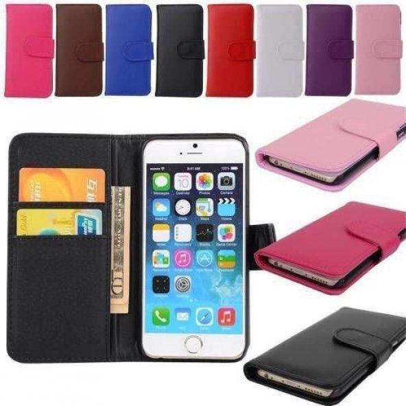 Apple iphone 5s Kılıf Deri Cüzdan Standlı Kredi Kart Bölmeli