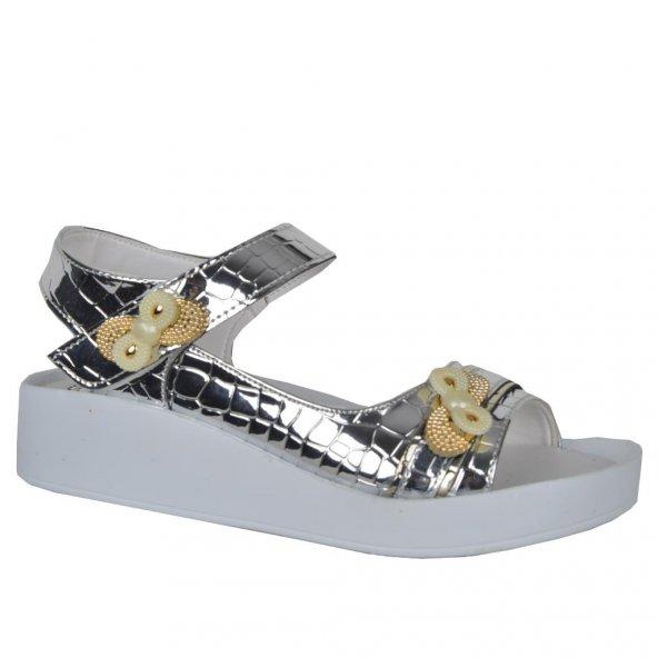 Cansu 2320 Cırtlı Yazlık Rahat Günlük Kız Çocuk Sandalet Ayakkabı