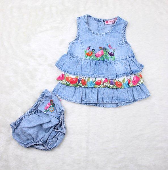 Kız Bebek Slipli Kot Tunik 5431 Mavı
