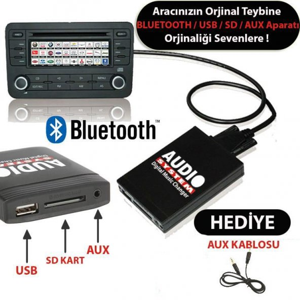 1998 Honda Civic Bluetooth USB Aparatı Audio System HON2.3