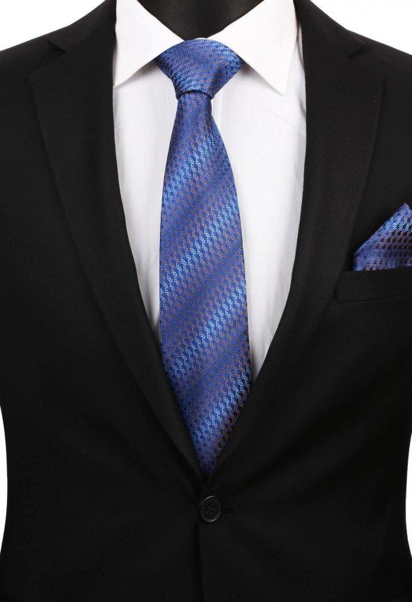 Mavi Motif Desen Mendilli Klasik Kravat 2873
