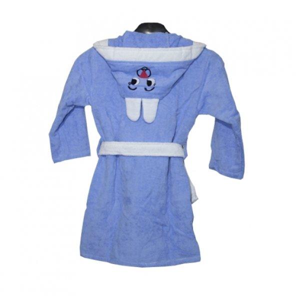 Tavşanlı Çocuk Bornozu Mavi