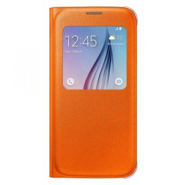 Samsung Galaxy S6 S View Cover Turuncu Kılıf -EF-CG920POEGWW