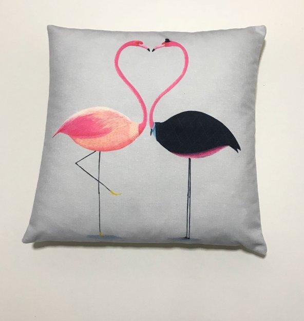 Nevresim Dünyası 3D Dijital Baskı Kırlent Kılıfı Kissing Flamingo