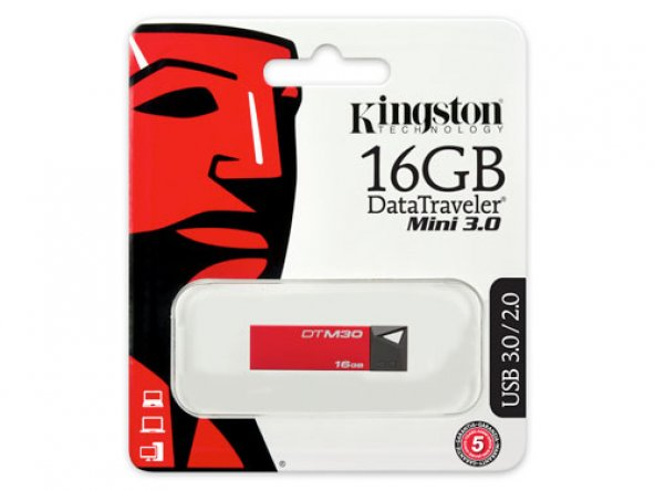 KINGSTON DTM30R/16GB 16GB DATATRAVELER MINI KIRMIZI USB 3.0 FLASH