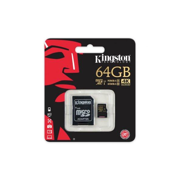 KINGSTON SDCG/64GB 64GB SDHC CLASS3 U3 UHS-I microSD HAFIZA KARTI