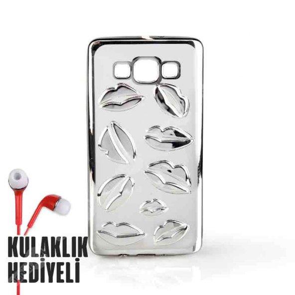 Secron Samsung Galaxy E7 Dudak Desenli Silikon Kılıf Chorme