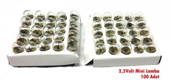 electroon Mini Lamba 2,5volt - 100 Adet - Kargo Ücretsiz