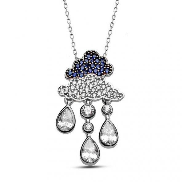 Alışverişrengi  Gümüş Damla Bulut Tasarım Kolye-