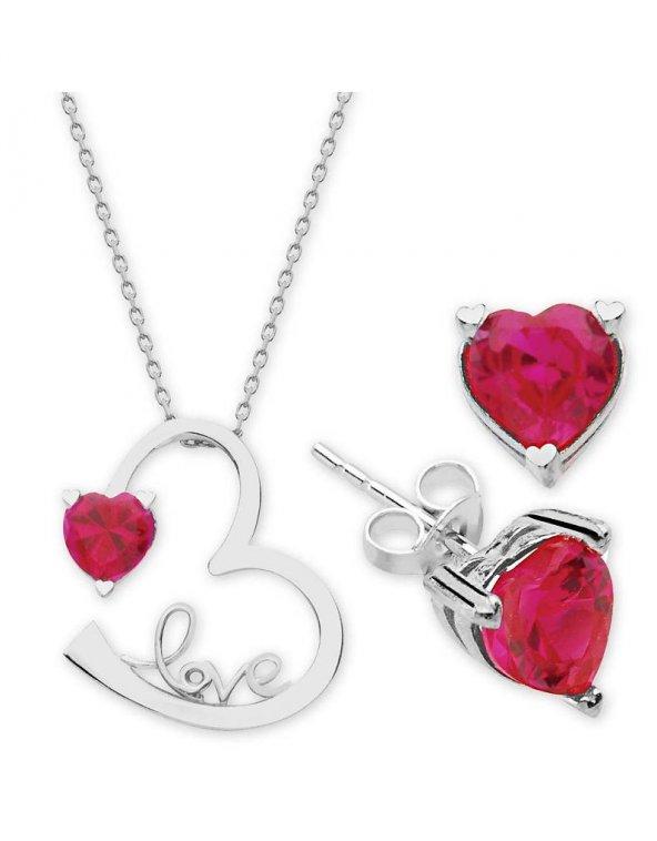 Alışverişrengi 925 Ayar Gümüş Zirkon Taşlı Kalp Kolye Kombin