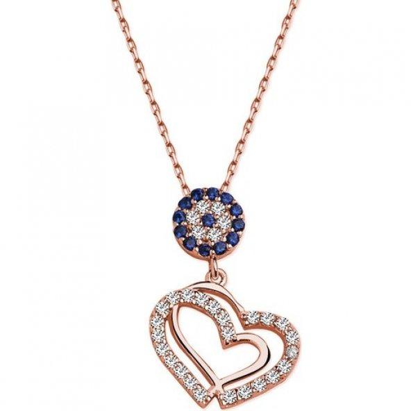 Alışverişrengi Gümüş Nazarlı Kalp Kolye 2110091
