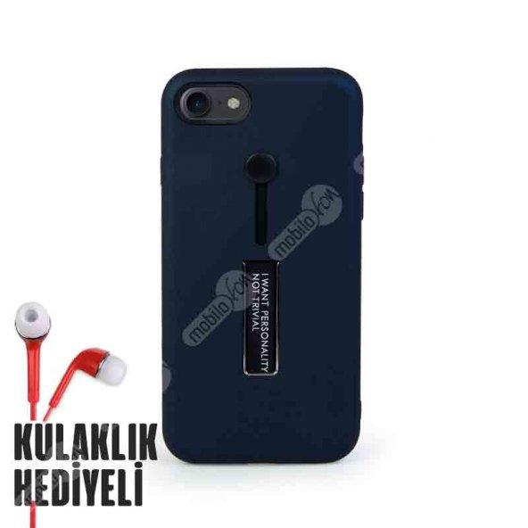 Secron Plus Apple iPhone 7 - 8 Olive Yüzük ve Standlı Kılıf Lacivert