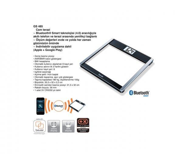 Beurer GS 485 Cam Baskül Bluetooth Smart Teknoloji
