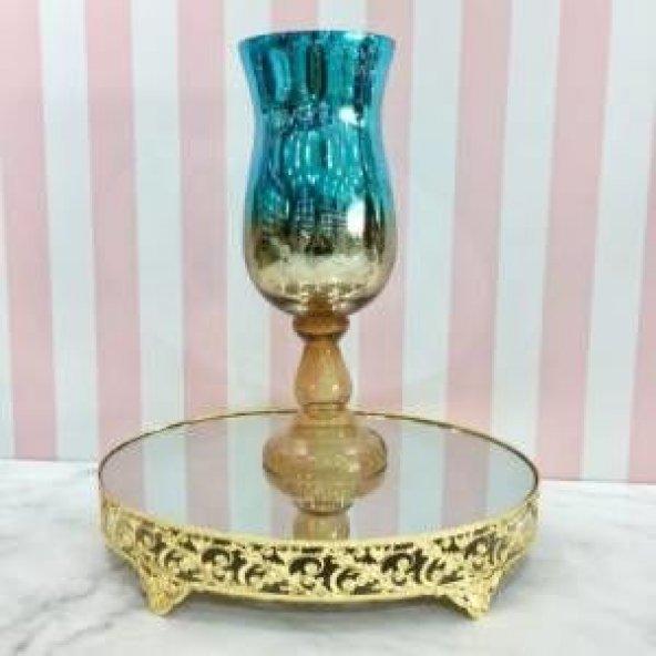 Cam Şamdan vazo Yaldızlı Gold Tekli