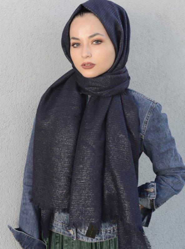 Samyeli Koton Şal Lacivert