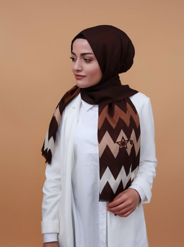 Zigzag Desenli Şal Kahverengi
