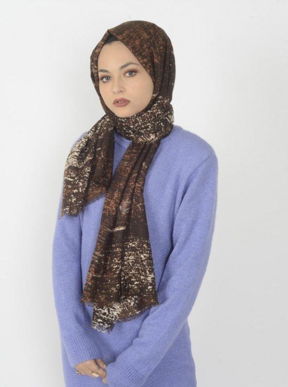 Batik Desenli Şal Kahverengi