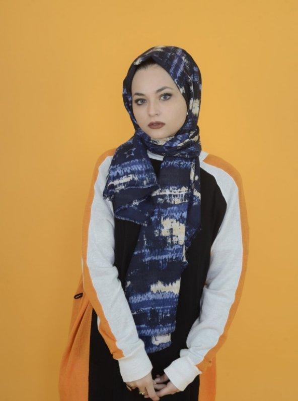 Parçalı Batik Desenli Şal Lacivert