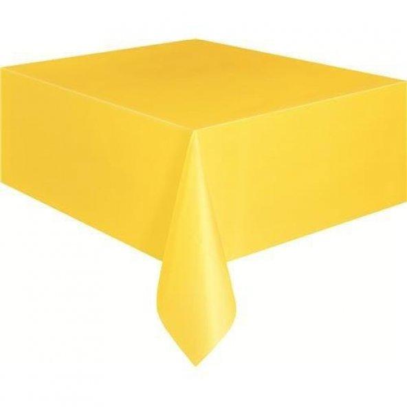 Sarı Kullanat Plastik Masa Örtüsü, 120x180 cm Doğum Günü Partisi