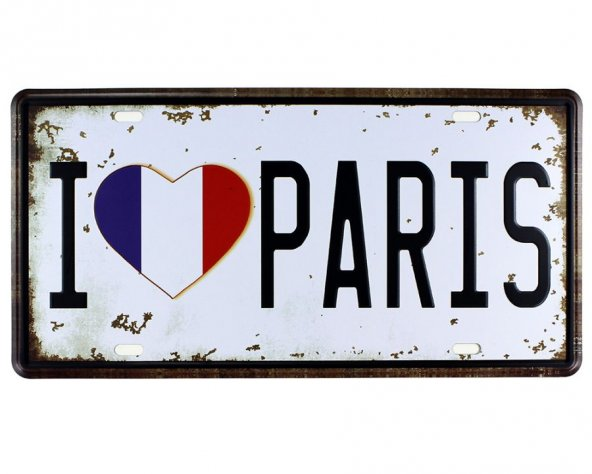 Vintage Metal Plaka I Love Paris 15x30