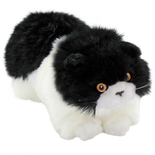 Animals Of The World Siyah Beyaz Yatan Kedi Peluş Oyuncak 26 cm