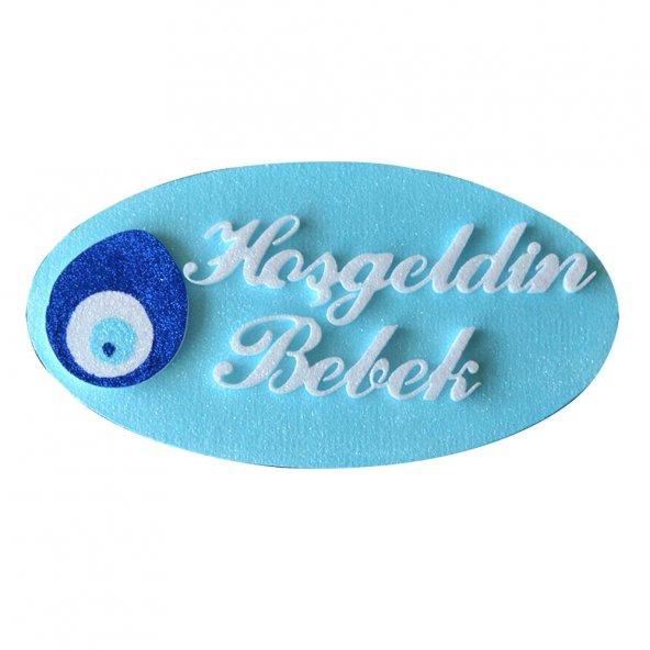 Hoşgeldin Bebek Köpük Bebek Kapı Süsü Mavi