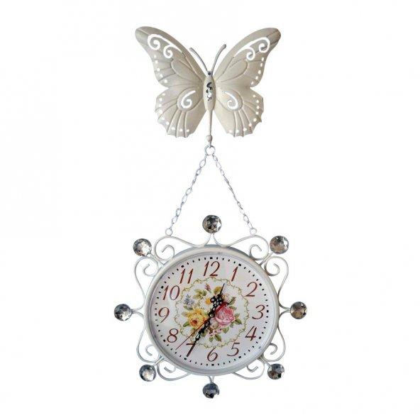 Ferforje Kelebek Askılı Saat