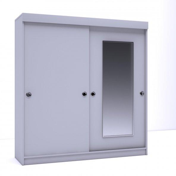 Kenzlife Gardırop Aynalı Sürgülü Kapak 120 Beyaz Papatya Gardolap