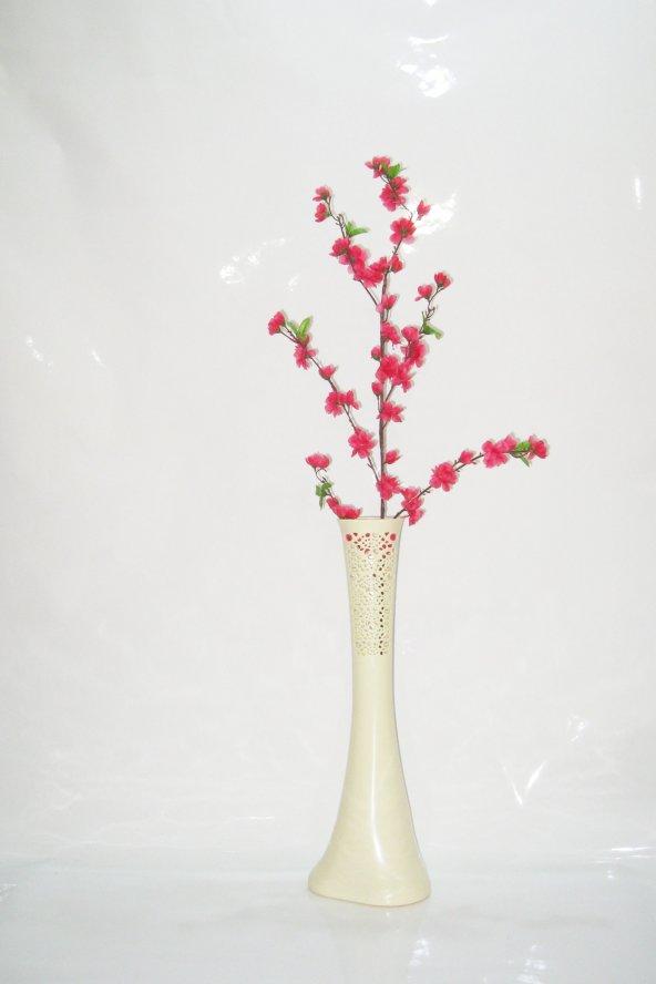 60 cm Krem Rengi İşlemeli Vazo Fuşya Bahar Dalı