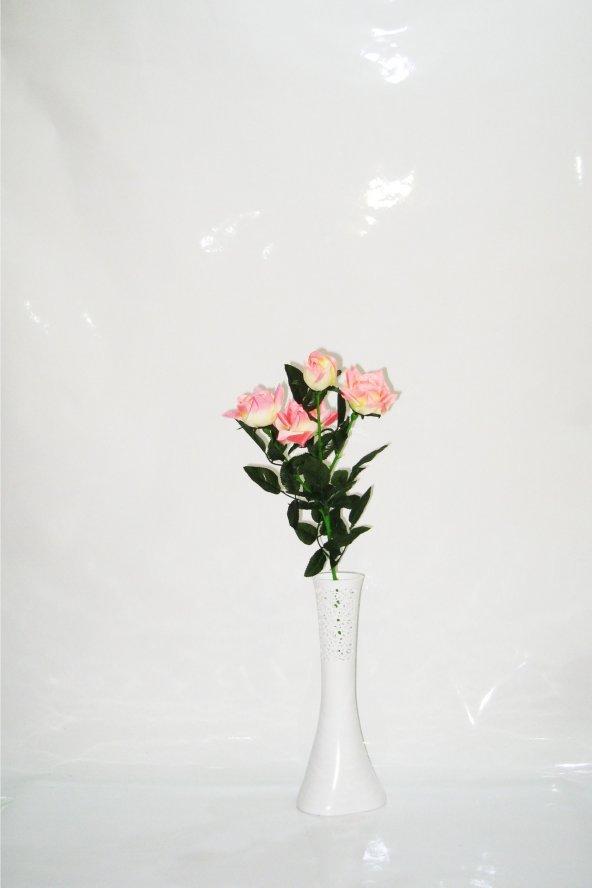 40 cm Beyaz Delikli Vazo Pembe Gül