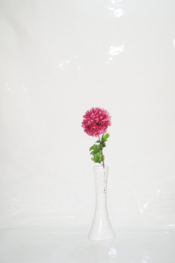 40 cm Beyaz Delikli Uzun Vazo 1 Mor Ortanca