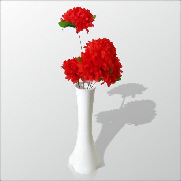 Uzun Fil Ayağı 40 cm Akrilik Vazo Kırmızı Çiçek