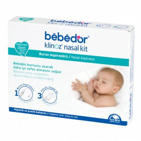 Bebedor klinoz nasal kit burun aspiratörü + 3 yedek uç kod 562